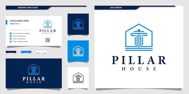 Logotipo da casa pilar com formato simples e design de cartão de negócios vektor premium