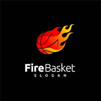Logotipo da cesta com elemento fogo