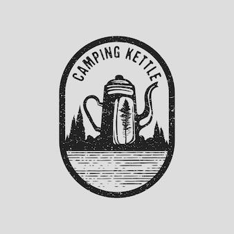 Logotipo da chaleira de acampamento