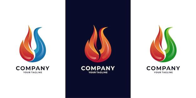 Logotipo da chama de fogo e energia