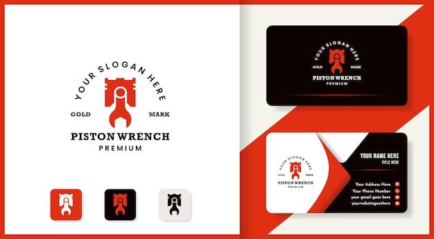 Logotipo da chave de pistão e design do cartão de visita