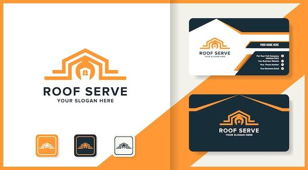 Logotipo da chave de telhado de casa e design de cartão de visita