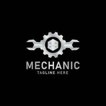 Logotipo da chave e da engrenagem ilustração em vetor de serviço mecânico