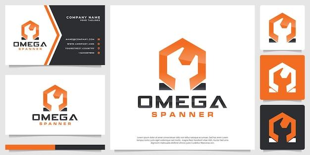 Logotipo da chave inglesa com símbolo omega