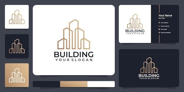 Logotipo da cidade de linha residencial de edifício para empresa de construção de arquitetura