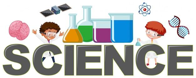 Logotipo da ciência com elemento Vetor Premium