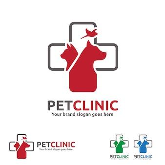 Logotipo da clínica de animais de estimação com cão, gato e pássaro com símbolo cruzado