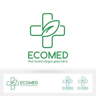 Logotipo da clínica médica eco com símbolo de cruz e folha