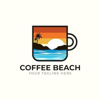 Logotipo da coffee beach, xícara de café com ilustração do ícone do logotipo da ilha da praia