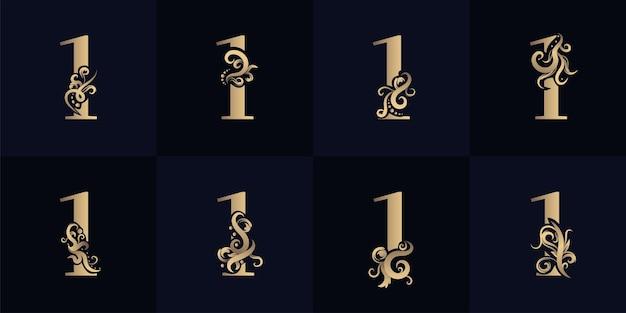Logotipo da coleção número 1 com design de ornamento de luxo