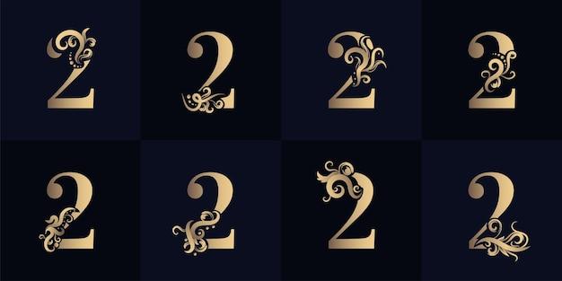 Logotipo da coleção número 2 com design de ornamento de luxo