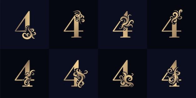 Logotipo da coleção número 4 com design de ornamento de luxo