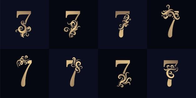 Logotipo da coleção número 7 com design de ornamento de luxo