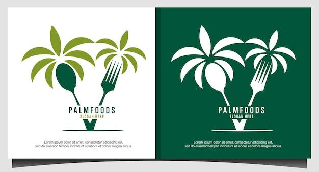 Logotipo da colher de garfo para comida de palma