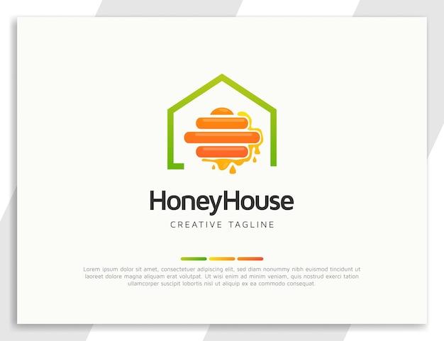 Logotipo da colmeia de abelhas com ilustração de casa e mel