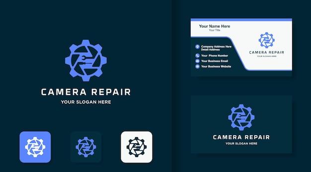 Logotipo da combinação da engrenagem da lente e design do cartão de visita