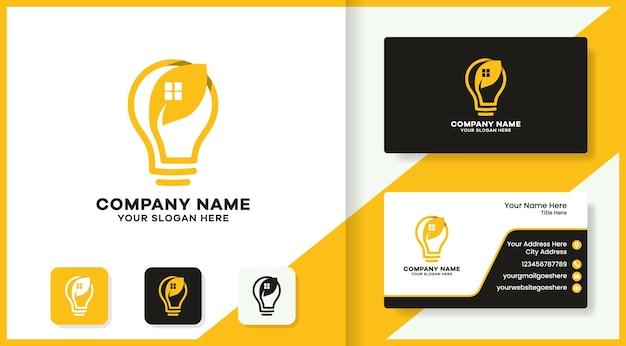 Logotipo da combinação de casa em folha de lâmpada e design de cartão de visita