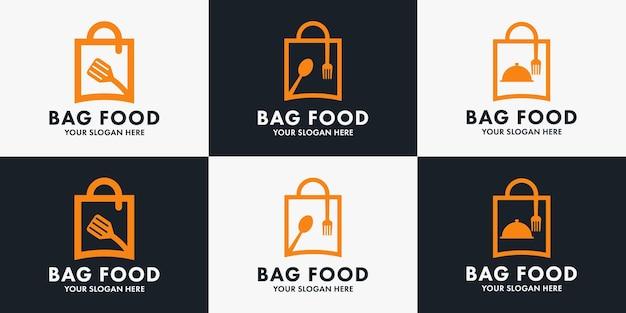 Logotipo da combinação de colher e garfo de saco, design de inspiração para pedir comida, restaurante e entrega