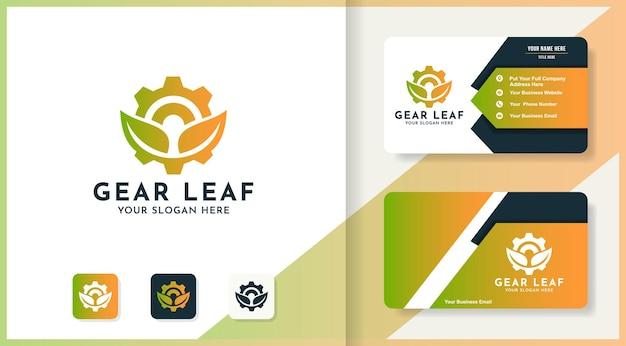 Logotipo da combinação de folhas de engrenagens e design de cartão de visita