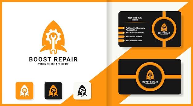 Logotipo da combinação do foguete da ferramenta de engrenagens e design do cartão de visita