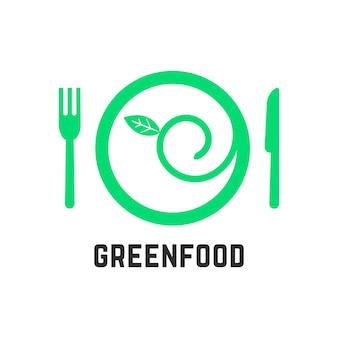 Logotipo da comida verde com utensílios de mesa. conceito de ecologia, gastronomia, culinária vegana, salada, saúde, vegetarianismo. isolado no fundo branco. ilustração em vetor design de marca moderna tendência de estilo simples