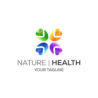 Logotipo da comunidade de saúde com forma de coração e cor gradiente