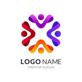 Logotipo da comunidade humana, grupo de pessoas / trabalho em equipe