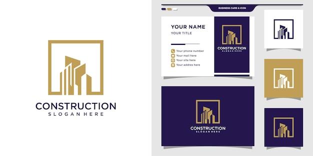Logotipo da construção com conceito quadrado e design de cartão de visita