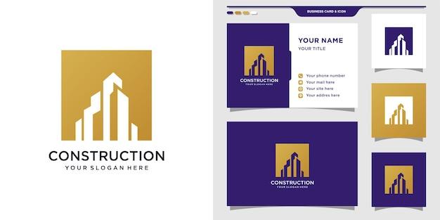 Logotipo da construção com cor dourada e design de cartão de visita
