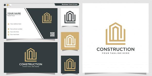 Logotipo da construção com estilo de arte de linha e modelo de design de cartão de visita