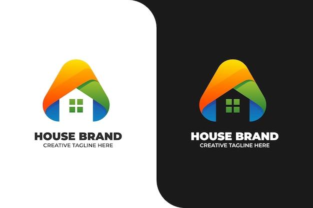 Logotipo da construção de casas em gradiente