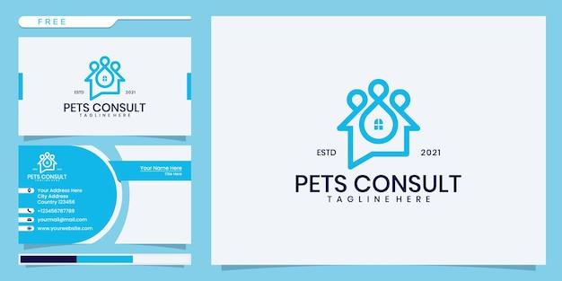 Logotipo da consulta blue pet, chat house com pegadas de animais. design de logotipo e cartão de visita