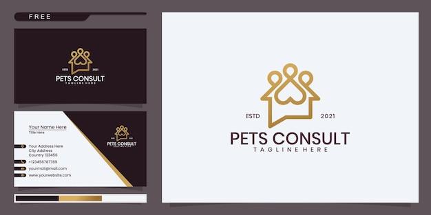 Logotipo da consulta do animal de estimação, casa de bate-papo com pegadas de animais. design de logotipo e cartão de visita