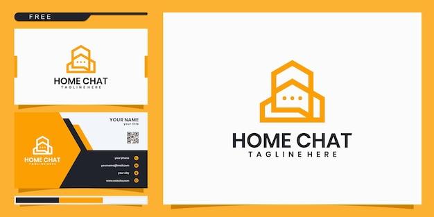 Logotipo da consultoria da casa, casa com bate-papo da bolha. design de logotipo e cartão de visita