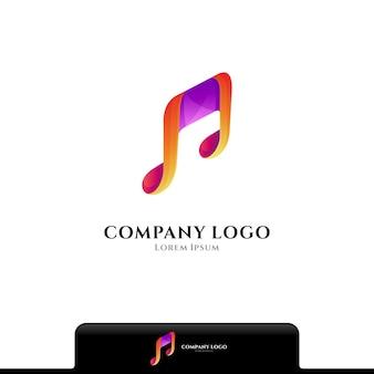 Logotipo da cor da nota musical isolado no branco