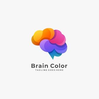 Logotipo da cor do cérebro com frio.