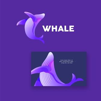 Logotipo da cor gradiente da baleia