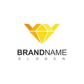 Logotipo da coroa com símbolo de diamante