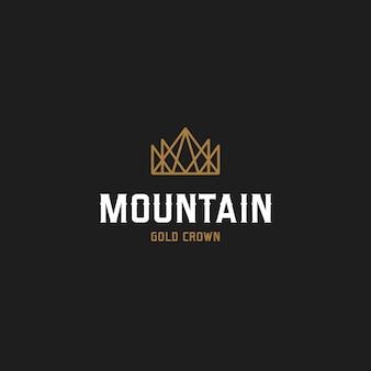 Logotipo da coroa de montanha de ouro