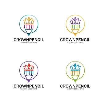 Logotipo da coroa do lápis, modelo do logotipo do lápis rei. vetor de design