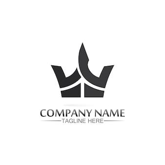 Logotipo da coroa logotipo do rei logotipo da rainha. modelo