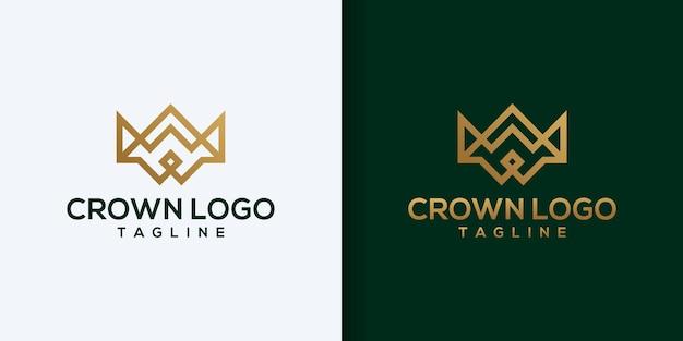 Logotipo da coroa vintage royal king queen modelo de vetor de design de logotipo abstrato