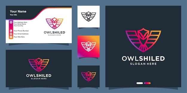 Logotipo da coruja com estilo de arte de linha de escudo moderno e modelo de design de cartão de visita