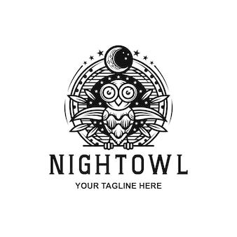Logotipo da coruja da noite