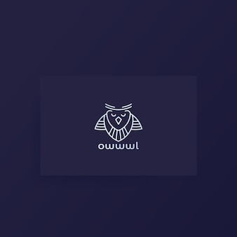 Logotipo da coruja, desenho da linha no cartão