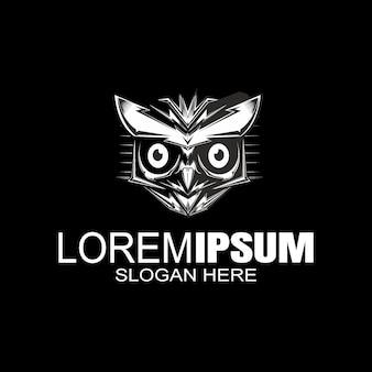 Logotipo da coruja, logotipo do caçador da noite, logotipo do pássaro.