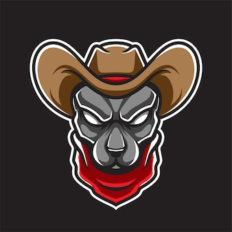 Logotipo da cow boy dog head