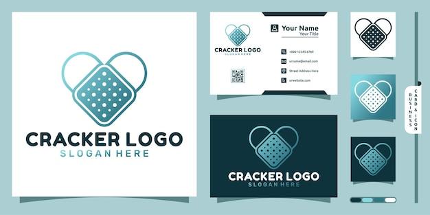 Logotipo da crackers com conceito moderno de forma de amor e design de cartão de visita
