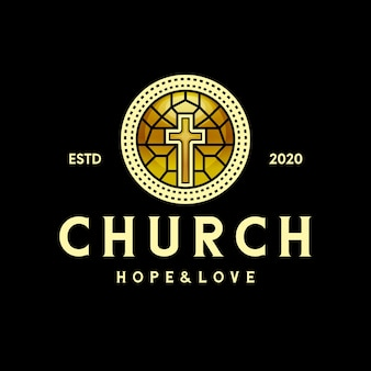 Logotipo da cruz da igreja de cristal dourado