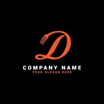 Logotipo da d food letter com o símbolo do garfo